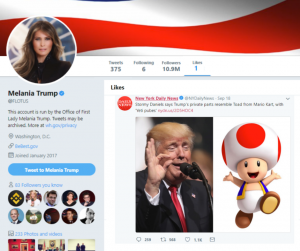 Melania Trump likes toad mario kart penis tweet